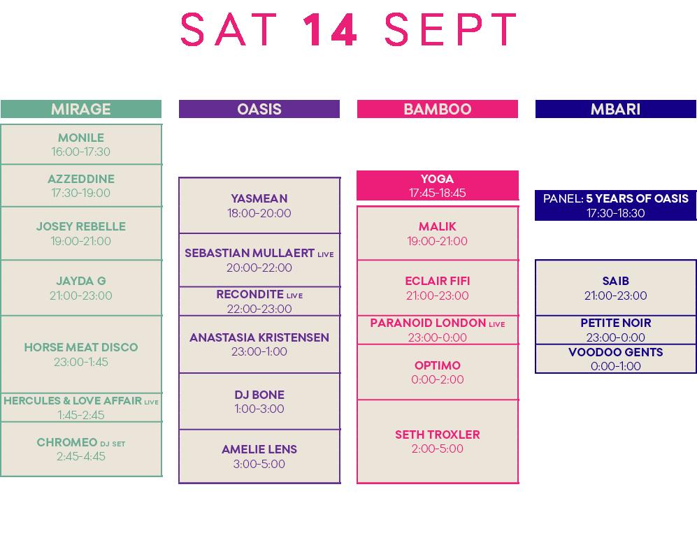 O19 Flyers Schedule V2 Oasis Festival 2020 Marrakech Morocco